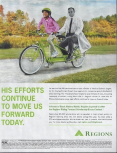 Black History Month Ad for Regions Bank featuring a B&W image of pioneer Dr. Charles Drew riding a bicycle with a young African American girl.