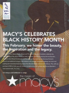 Macy's Black History Month Ad featuring celebrated African-American artist Romare Bearden's lithograph, The Lamp.